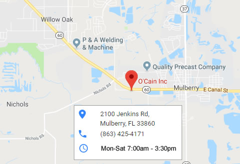 Mulberry Florida Map.Industrial Fabrication Contact O Cain Inc